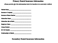Primary Dental Insurance